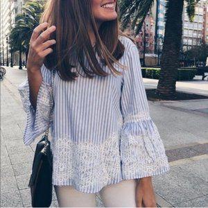 Zara Woman Blue Stripe Lace Bell Sleeve Blouse